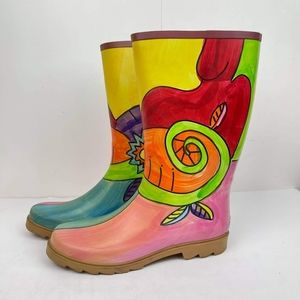 Corkys Women's Nomad Yippy Rain Rubber Boots US 10 Graphic Print Multicolor Boot